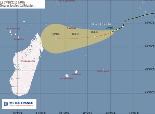 Trajectoire de la Dépression Tropicale n°1 de la saison 2013-2014
